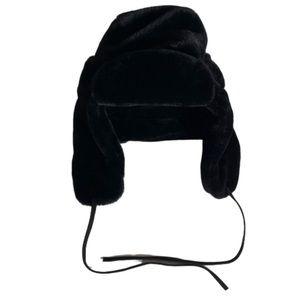New Echo Warm Black Fuzzy Ear Flap Trapper Hat